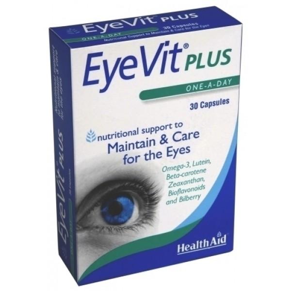 Health Aid EyeVit PLUS βότανα σε συνδυασμό με βιταμίνες και ιχνοστοιχεία για τους μαύρους κύκλους και τις σακούλες των ματιών 30caps