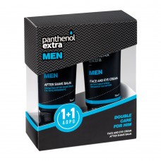 PANTHENOL Extra Double Care For Him διπλή ανδρική περιποίηση 1+1 δώρο! After Shave Balm 75ml + Face & Eye Cream 75ml